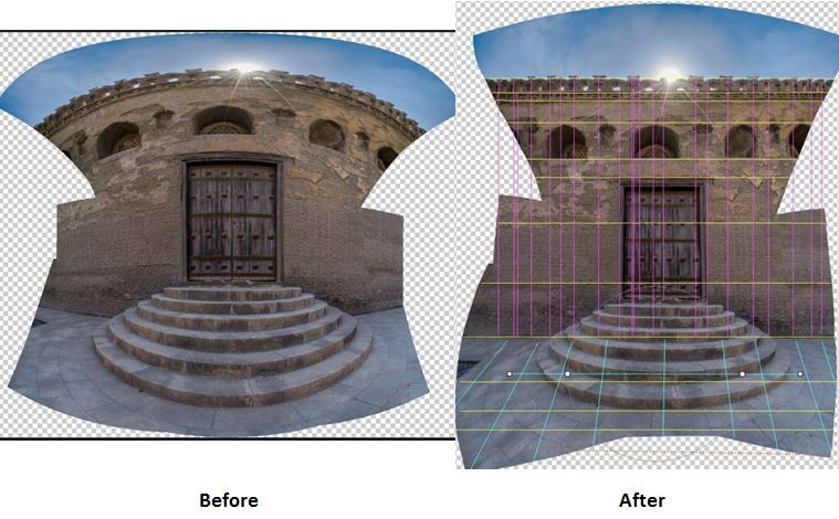 Panorama, before and after Adaptive Wide Angle filter